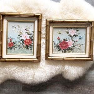 Vintage Hand Painted Floral Bird Bamboo Frame Set